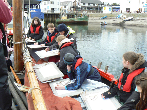Ullapool high school group in drawing action after their sailing experience